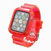 Ремешок для Apple Watch 44 mm прозрачный с кейсом (розовый) — 1